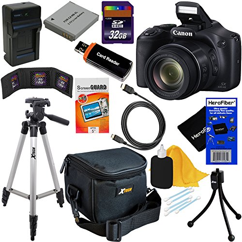 Canon Powershot SX530 HS 16.0 MP Digital Camera with 50x Zoom, Wi-Fi & 1080p Full HD Video + NB-6L Battery & AC/DC Charger + 10pc Bundle 32GB Deluxe Accessory Kit w/ HeroFiber Gentle Cleaning Cloth