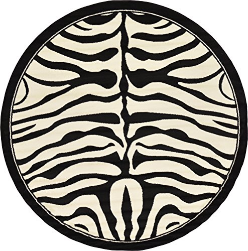 Border Rug Zebra (Unique Loom Wildlife Collection Zebra Border Animal Beige Round Rug (8' x 8'))