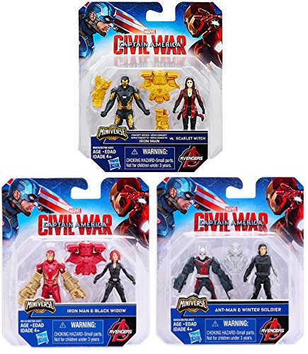 Marvel Captain America  Civil War Miniverse Figures   Iron Man   Black Widow   Ant Man And Winter Soldier   Now Iron Man And Scarlet Witch