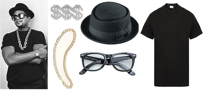 bcb81b93efac Image Unavailable. Image not available for. Colour  Sofias Closet Fancy  Dress Costume Run DMC 80 S Rap Group T Shirt Hat Glasses Ring Gold
