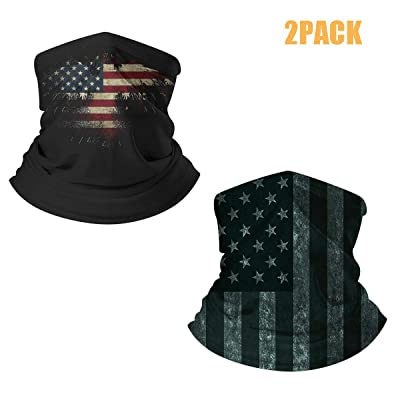LedBack 2Pack American Flag Seamless Face Bandana Neck Gaiter Tube Headwear: Automotive