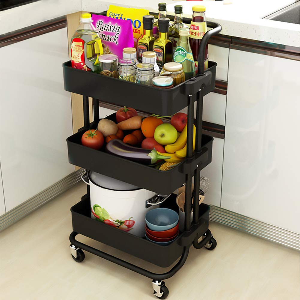 Coideal 3-Tier Rolling Utility Cart Storage Shelves Multifunction Storage Trolley Service Cart with Mesh Basket Handles and Wheels Easy Assembly for Bathroom Kids/' Room Kitchen Office Coffee Bar