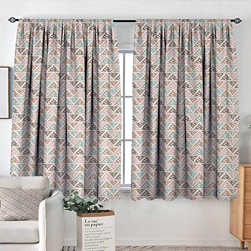 Theresa Dewey Print Pattern Curtains Abstract,Pastel Triangles with Polka Dots Pattern Bohemian Inspirations Geometric Design,Multicolor,for Room Darkening Panels for Living Room, Bedroom 42