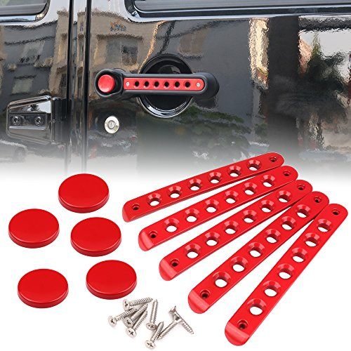 (Red 5 PCS Grab Handle Inserts Cover Door Handle for Jeep Wrangler JK Unlimited 4Door)
