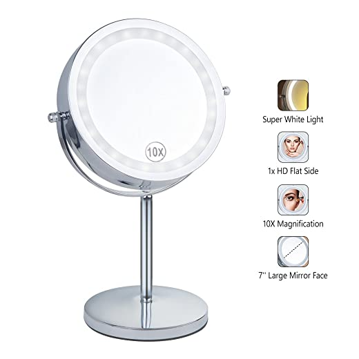 Benbilry Lighted Makeup mirror – LED Double Sided 1x 10x Magnification Cosmetic Mirror,7 Inch Battery-Powered 360 Degree Rotation Vanity Mirror with On Off Push-Button 10x Button Switch Mirror