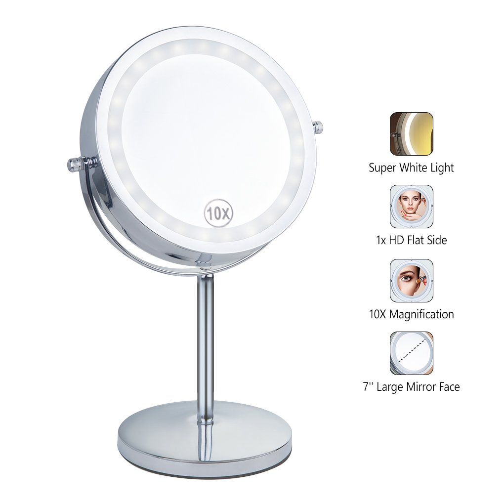 Benbilry Lighted Makeup mirror-LED Double Sided 1x/10x Magnification Round Standing Cosmetic Mirror,7 Inch Diameter Battery-Powered 360 Degree Swivel Rotation Vanity Mirror with On/Off Push-Button