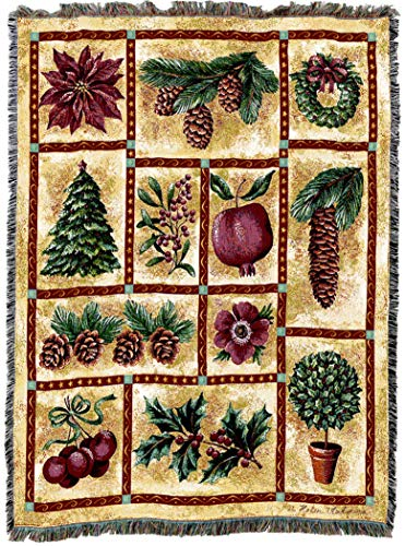 Pure Country Weavers   Christmas Decor Holly Tree Cherries Pinecones Woven Tapestry Throw Blanket with Fringe Cotton USA 72x54