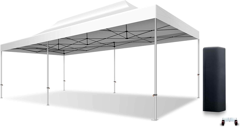 XPTENT Plegable Tienda 4 x 8 m Aluminio 50 mm Cenador Plegable de jardín Tienda Mercado Stand | Techo PVC 520 gr/m² 100% Resistente al Agua, protección UV, Gratis Funda, Blanco: Amazon.es: Jardín
