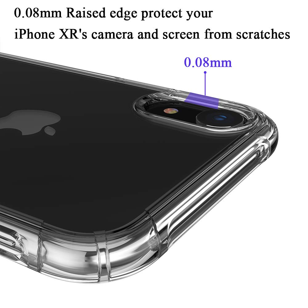 iPhone XR Case, Y&R Direct Crystal Clear Cases for iPhone XR 6.1\'\', Slim Soft TPU Cover, Supports Wireless Charging, Shock Resistant, Anti-Yellowing, Protector for Camera Lens and Front Screen