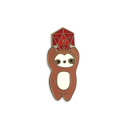 : D20 Sloth D&D Enamel Pin for Clothes Bags