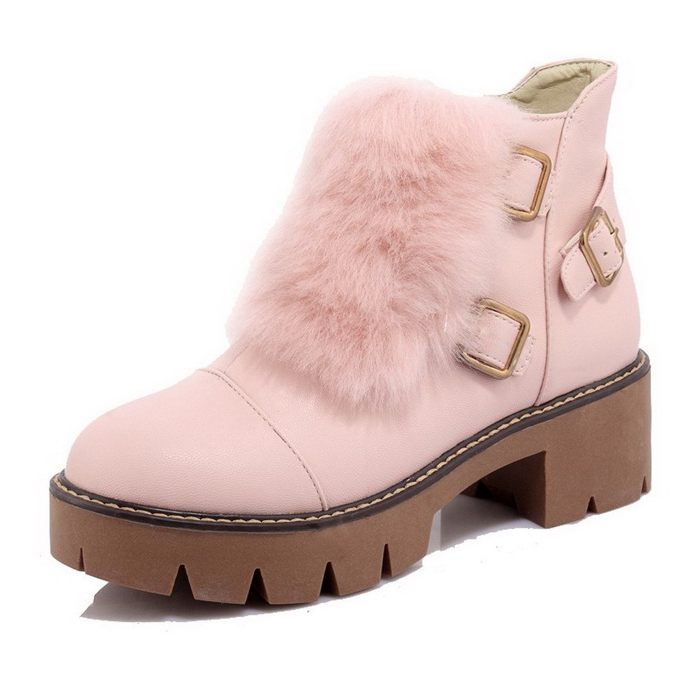 WeenFashion Women's Soft Material Zipper Round Closed Toe Kitten-Heels Low-top Boots, Pink, 35