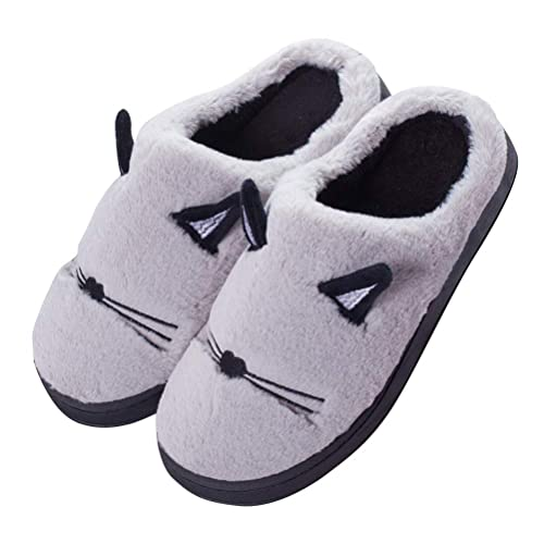 Minetom Mujer Hombre Otoño Invierno Zapatillas de Estar Lindo Gato Gatito Kitty Pantuflas Unisexo Antideslizante Cálido Peluche Zapatos para Exterior e ...