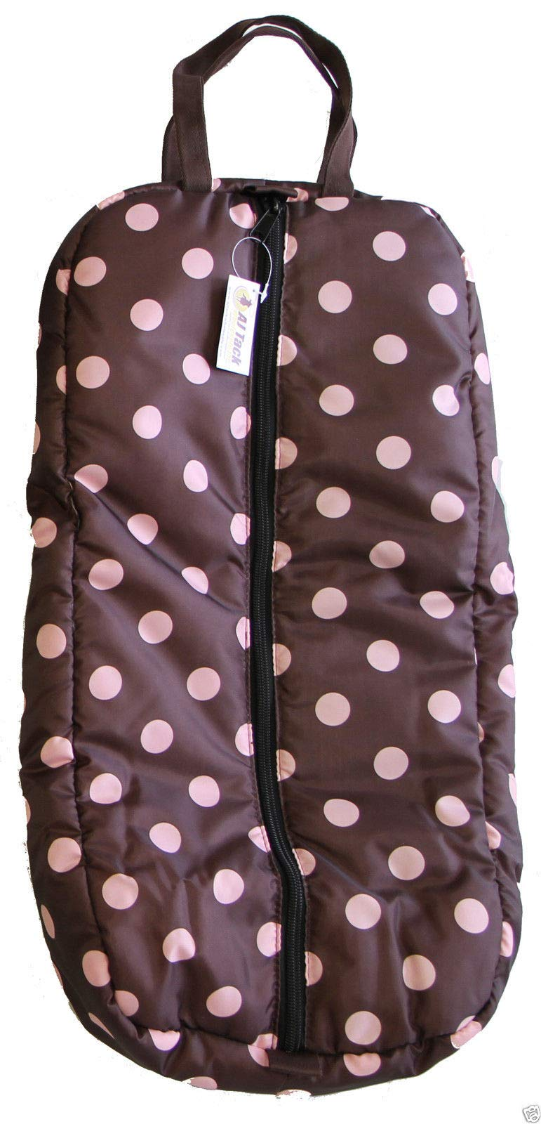 Deluxe Bridle Halter Padded Tote Bag Storage Case with Three Inner Loops Pink Polka Dots by AJ Tack Wholesale