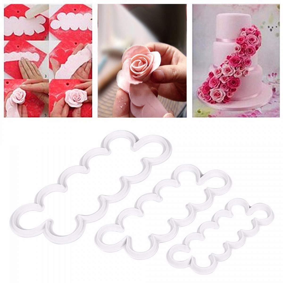 Amazon.com: Myhome99 cake mold pcs/set Rose Flower Cake Molds Plastic White Rose Flower Fondant Cutter Cake Decorating Molds Biscuit Cutter: Kitchen & ...