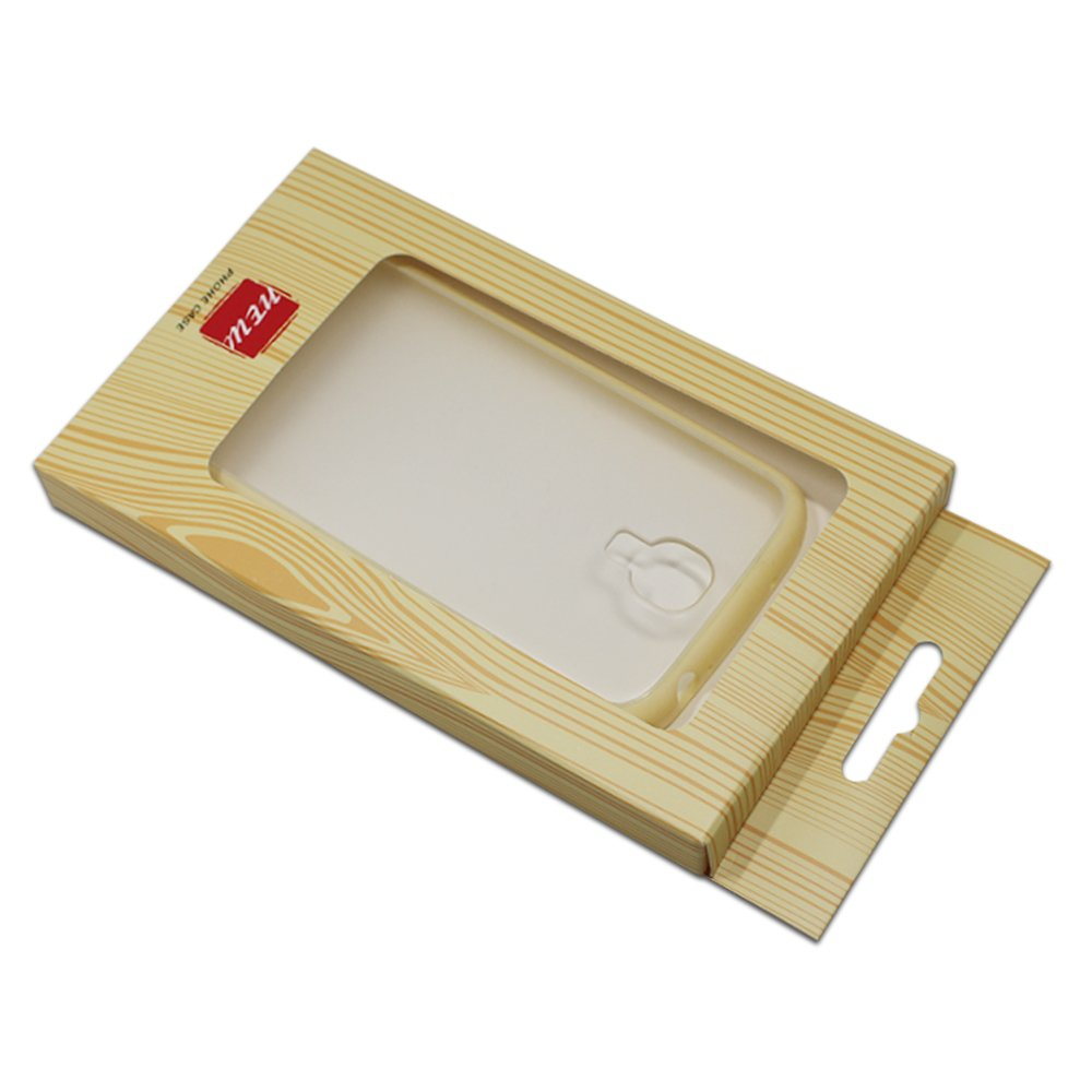 3.9x6.7+0.6 inch Visible Cardboard Paper Package Box for Phone Case Kraft Paper Cell Mobile Phone Shell Protective Hanging Box Phone Shell Pack Storage Wraps with Window (wooden pattern, 250 pieces)