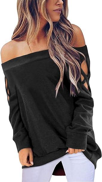 ACHIOOWA Mujer Camiseta Elegante Casual Hombros Descubiertos Blusa Mangas Largas Cuello Redondo Top: Amazon.es: Ropa y accesorios