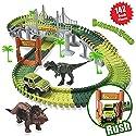 Alikey Raceトラック車トラックおもちゃwith 192ピース柔軟なトラックSet with 2Vehicles  4木、2Slopes、1HangingブリッジとトラフィックアクセサリーSuper Fun、早期教育玩具123年 ブラック ALIKEY