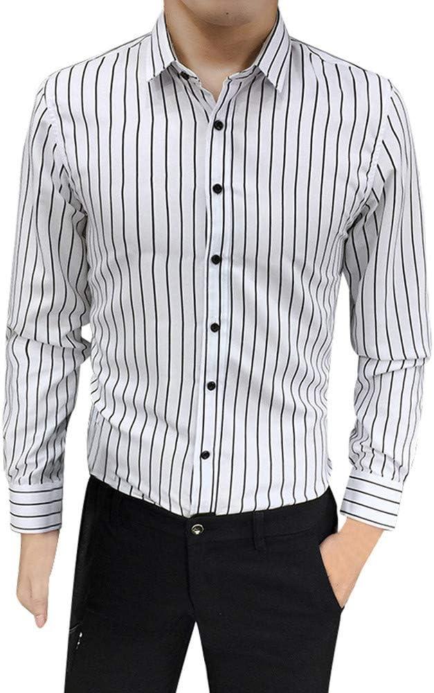 Kinlene Botón de Manga Larga para Hombre, Traje Ajustado, Camisa de Vestir a Rayas Camisas Blusa: Amazon.es: Ropa y accesorios