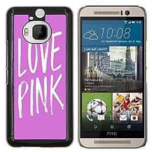 - Love Pink Heart - - Cubierta del caso de impacto con el patr??n Art Designs FOR HTC One M9+ / M9 PLUS Queen Pattern