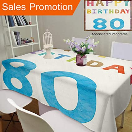 Unique Design Cotton And Linen Blend Tablecloth 80Th Birthday Decorations Old Ancient Abstract Vintage Happy
