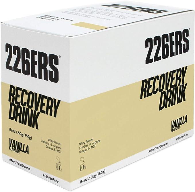 226ERS Recovery Drink Monodosis, Recuperador Muscular con Proteína Whey, Creatina, Hidratos de Carbono, Triglicéridos y L-Arginina, Vainilla - 15 ...