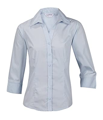 909ad12c5 ensemble Plain Ladies Womens Blouse Shirt Top 3/4 Sleeve Work Office Formal  Open Neck: Amazon.co.uk: Clothing