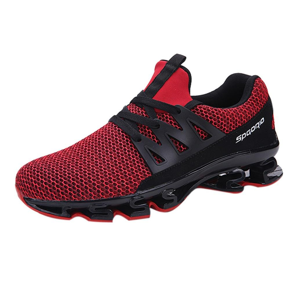 Mens Running Sneaker,2018 Novelty Casual Mesh Breathable Slip On Outdoor Sports Shoes (Red, US:8)
