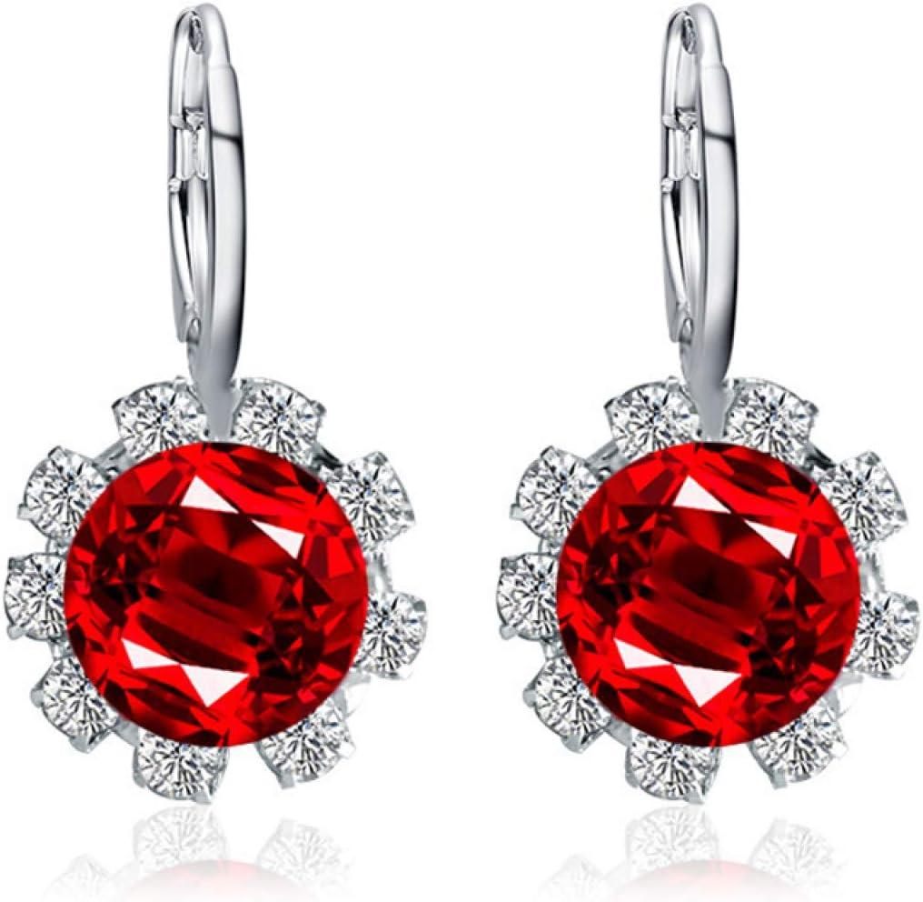Pendientes de flores de sol, moda coreana redonda de imitación de cristal de imitación de diamantes de imitación sol flor pendiente de oreja joyería - rojo