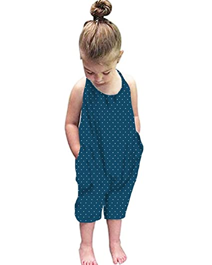 0b89e72ebb Kidsform Baby Girls Straps Rompers Harem Jumpsuits with Pockets Size 2-6Y