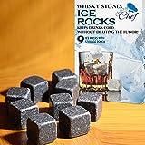 Whiskey Rocks - Pack of 9 Soapstone Whiskey Stones, Chuzy Chef