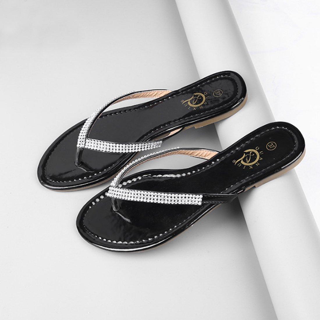 ded7c1a1c731f3 ... Niceful Women s Flat Rhinestone Flip Flops PU Large Size Casual Casual  Casual Summer Sandals B07BKXNPYH 8.5 ...