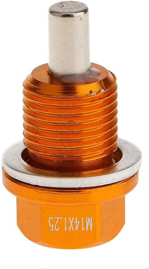 B Baosity M14x1.25 Filtro Magn/ético Del C/árter De Aceite Del Colector De Aceite Filtro De Sumidero Perno De Tap/ón De Oro