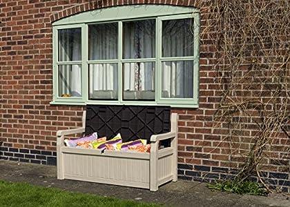 keter gartenbank und kissenbox eden gute alternative zur normalen auflagenbox. Black Bedroom Furniture Sets. Home Design Ideas