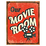 Cheap Wood-Framed Our Movie Room Metal Sign, Den Décor, Home Theater, Home Cinema, Den Décor on reclaimed, rustic wood