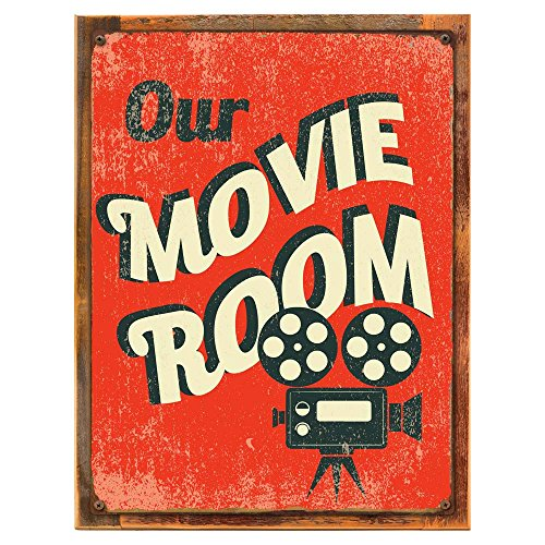 Wood-Framed Our Movie Room Metal Sign, Den Décor, Home Theater, Home Cinema, Den Décor on reclaimed, rustic wood (Accent Movie)