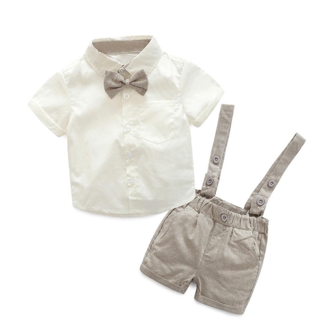 12d51fff4 PAOLIAN Conjuntos para Unisex bebé niñas Verano 2018 Camisas + Pichi  Pantalones Cortos + Corbata Manga Corta Boda Trajes y Blazers Bebe niñas de  6 Meses 12 ...