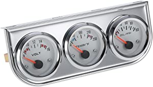 "3 in 1 Car Meter Auto Gauge(Voltmeter + Water Gauge + Oil Press Gauge),2"" Chrome Voltage Gauge Water Temp Gauge Oil Pressure Sensor 12V 52mm Triple Gauge Kit (Fahrenheit White dial face)"