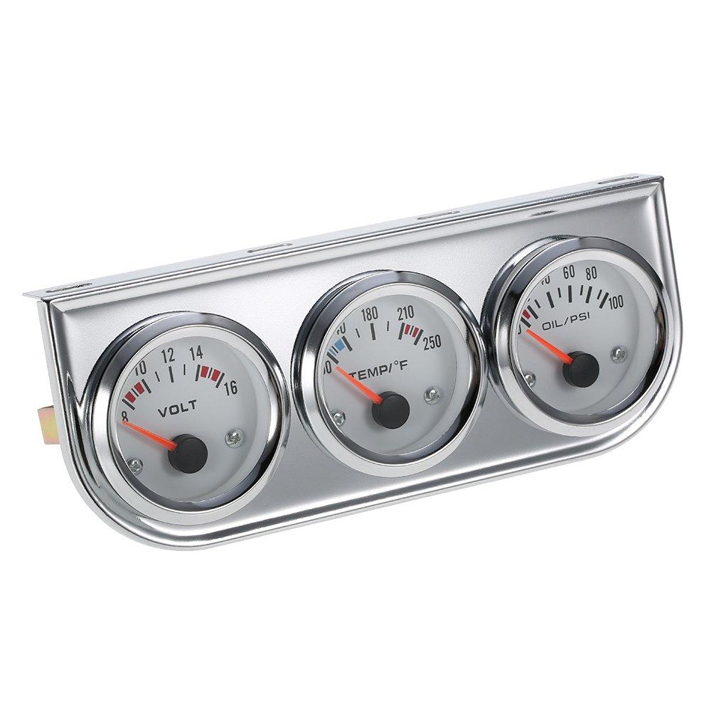 Walmeck 52MM Oil Pressure Fahrenheit Water Temperature Gauge Voltmeter Chrome 3 in 1 Gauge Kit Car Motorcycle Meter