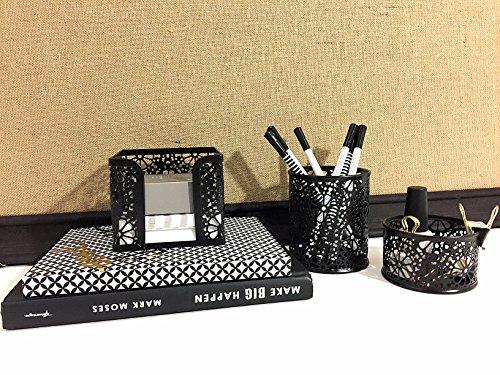 Blu Monaco Black Desk Organizer for Women - 3 Piece Desk ...