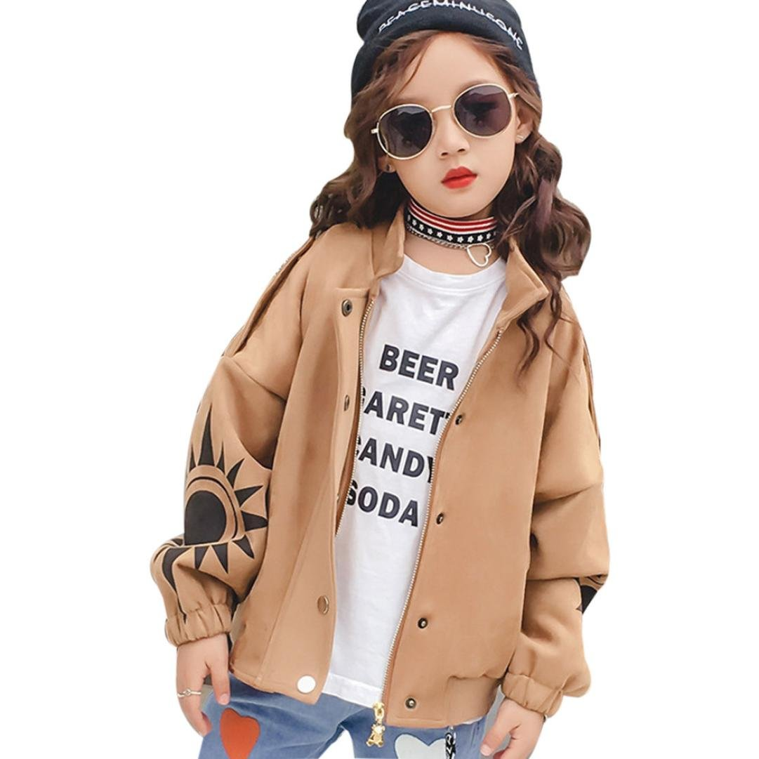 Leegor Kids Girls Zipper Jacket Children Premium Outwear Coat Outfits Windbreaker (3T, Khaki)