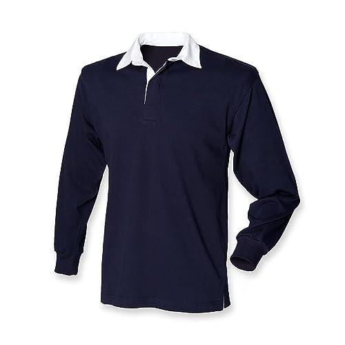 Front Row camiseta de manga larga camiseta de Rugby Original azul marino XL