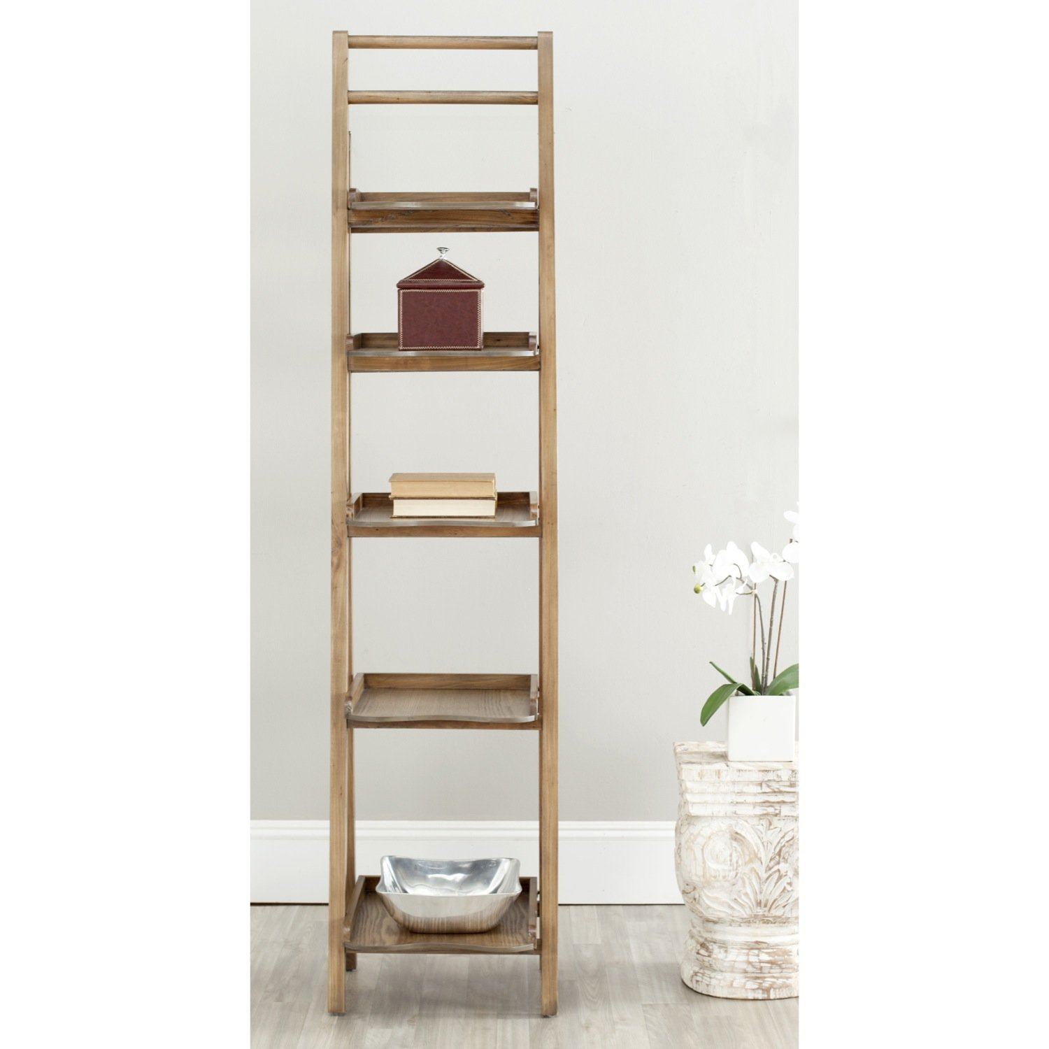 Safavieh American Homes Collection Asher Leaning Étagère Bookcase, Oak