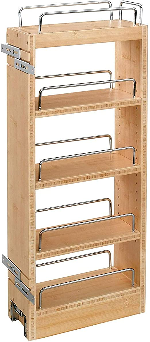 Amazon Com Rev A Shelf 448 Wc 8c 8 Inch Base Cabinet Pull Out Storage Organizer With 3 Adjustable Wood Shelves And Chrome Rails Maple Home Kitchen