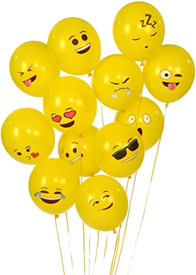 "Emoji Latex Balloons 11/"" Yellow Smile Face Birthday Party Supplies Graduation"