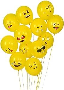 Emoji Universe Series One: Latex Emoji Smiley Face Balloons 72 Pack Yellow