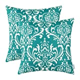 Pack of 2 CaliTime Throw Pillow Covers 18 X 18 Inches, Vintage Damask Floral, Teal