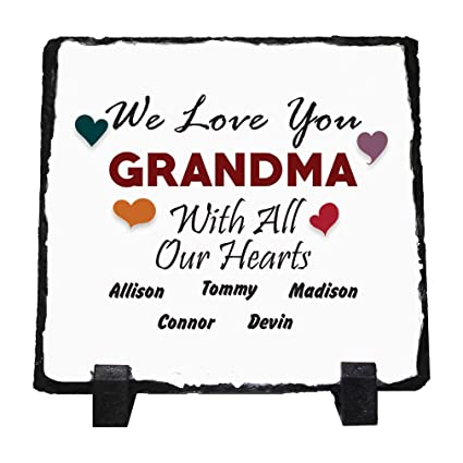 853da7a691e9 Amazon.com: Custom Text Grandma with All Our Hearts. Stone Slate ...