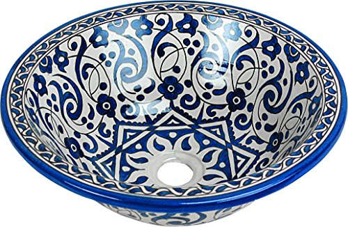 Fes / Taros Green in Multicoloured Ceramic Hand painted Moroccan Bathroom Sink Basin - Round, Painted inside out - Di 40 cam H 16 cm by MAISON ANDALUZ by MAISON ANDALUZ