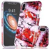 BAISRKE iPhone X Case,Red Multicolor Marble Design Clear Bumper Matte TPU Soft Rubber