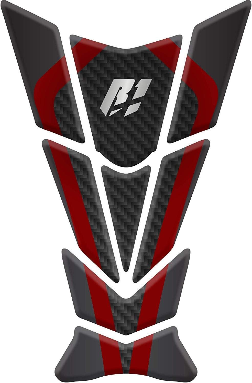 Tankpad Sticker Protection de Reservoir Moto Autocollant en Gel Carbon compatible pour Yamaha R1 Rouge